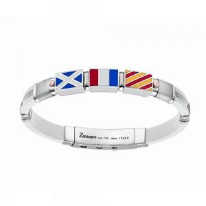 ed4a9669d84382 Bracciale in argento, oro e silicone bianco con 3 bandiere e inserti  satinati. Nautica