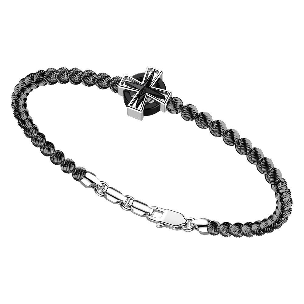 Bracciale in argento con sfere e croce con cerchio.