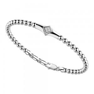 Bracciale in argento con sfere e rombo di zaffiri.