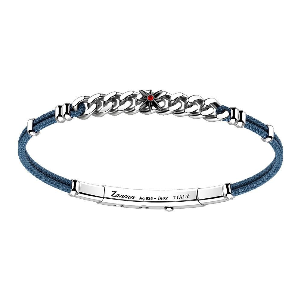 silver and gold bracelet, red spinel and black kevlar