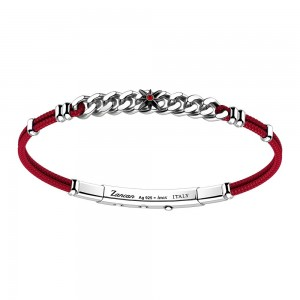 silver and gold bracelet, red spinel and black kevlar