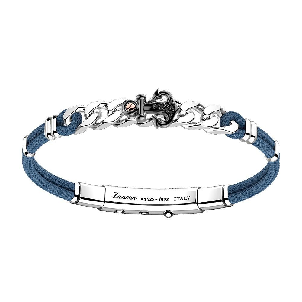 silver bracelet, black spinels and black kevlar with pink gold details