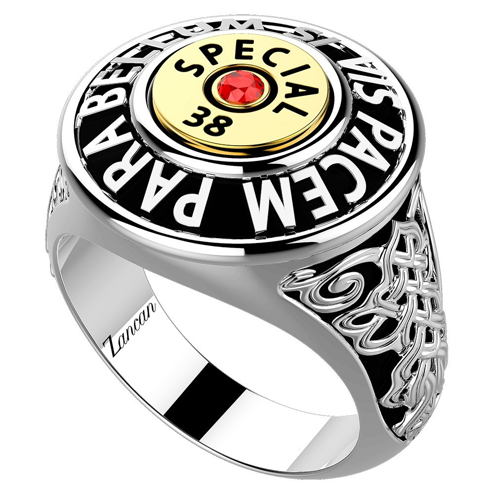 Silver ring with red spinel