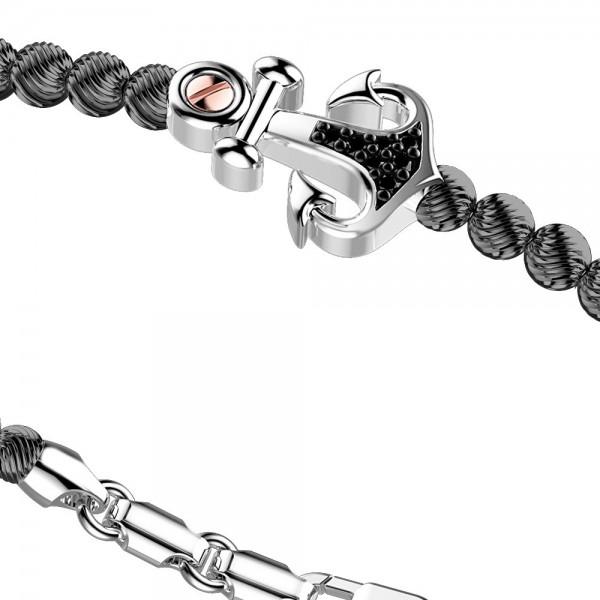 Bracciale in argento con inserti in oro rosa e spinelli neri