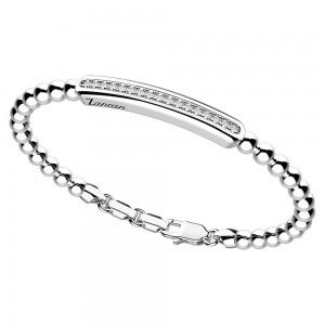 Bracciale in argento con sfere e placca di zaffiri bianchi.