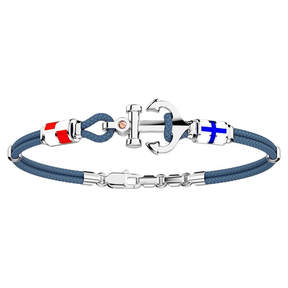 Silver Bracelet, enamelled details and kevlar