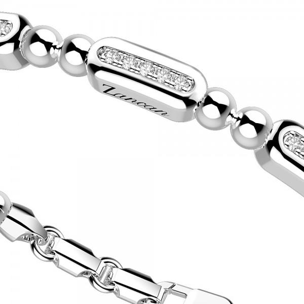 Bracciale in argento con sfere e 3 placchette di zaffiri.