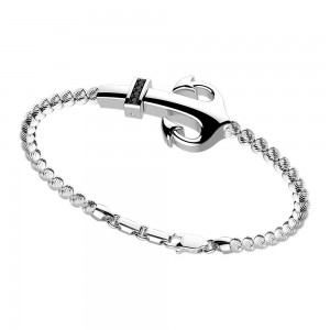 silver bracelet and black spinels.