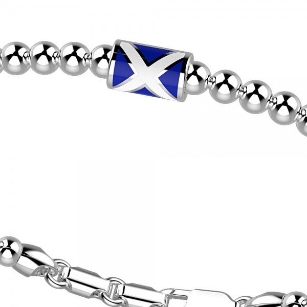 Bracciale in argento con sfere e bandiera marina.