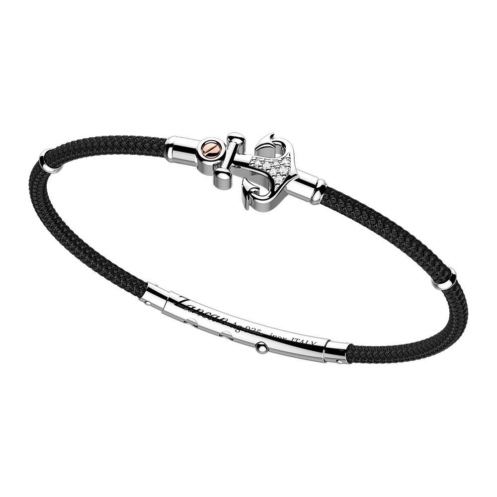 Silver Bracelet, white saphhires and kevlar
