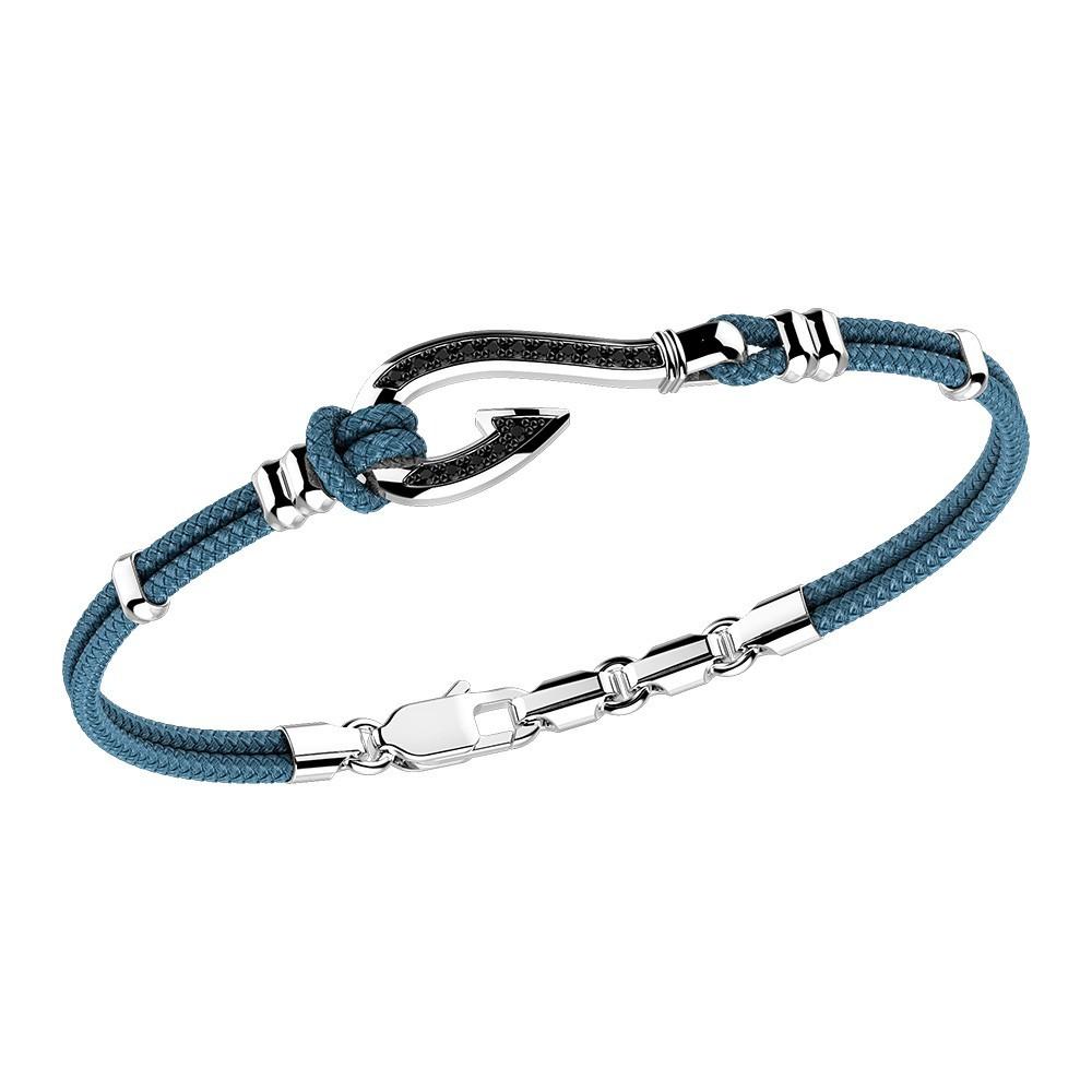 silver bracelet, black spinels and kevlar