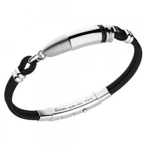 """Bracciale """"Proiettile"""" in kevlar nero, argento e spinelli neri."""