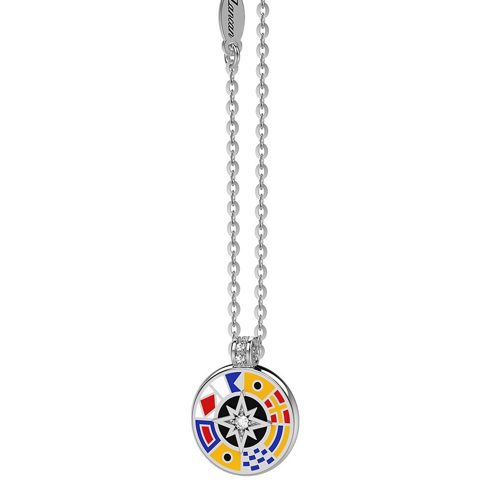 Silver necklace with white sapphiresand enamelled details