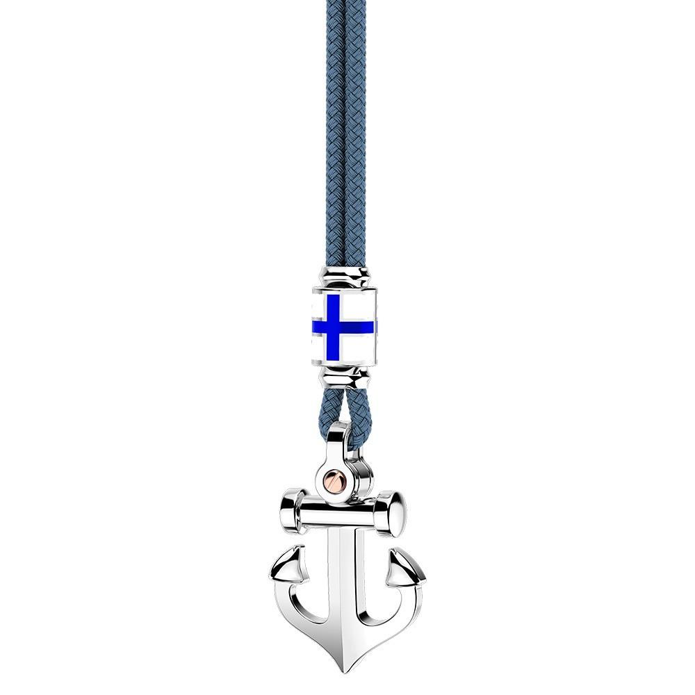 Silver necklace, enamelled details and kevlar