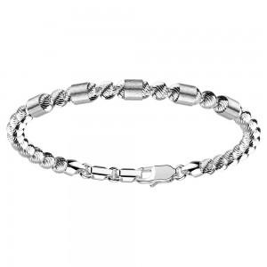 Bracciale in argento con sfere striate e inserti satinati.