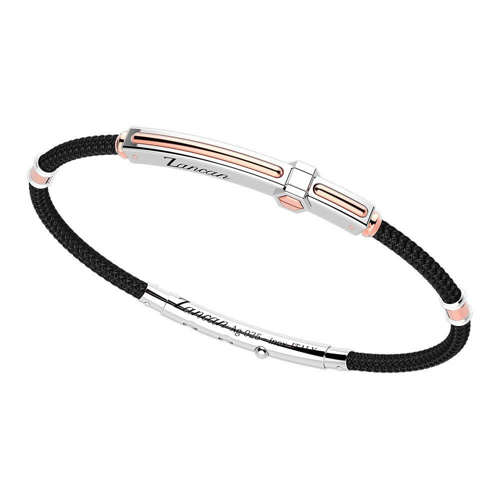 Silver and gold bracelet with black kevlar cord.