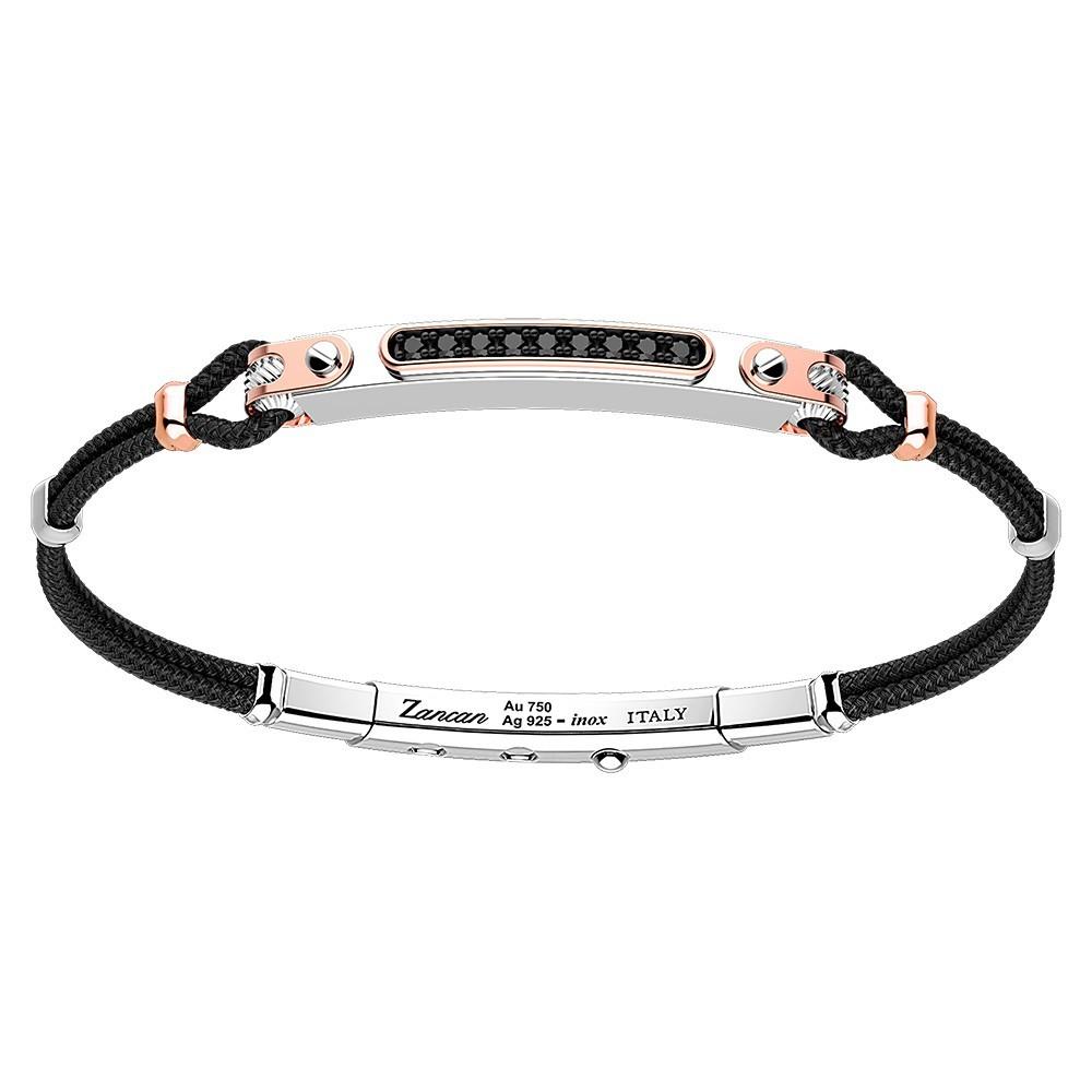 Silver and gold bracelet, nine black spinels and black kevlar cord.