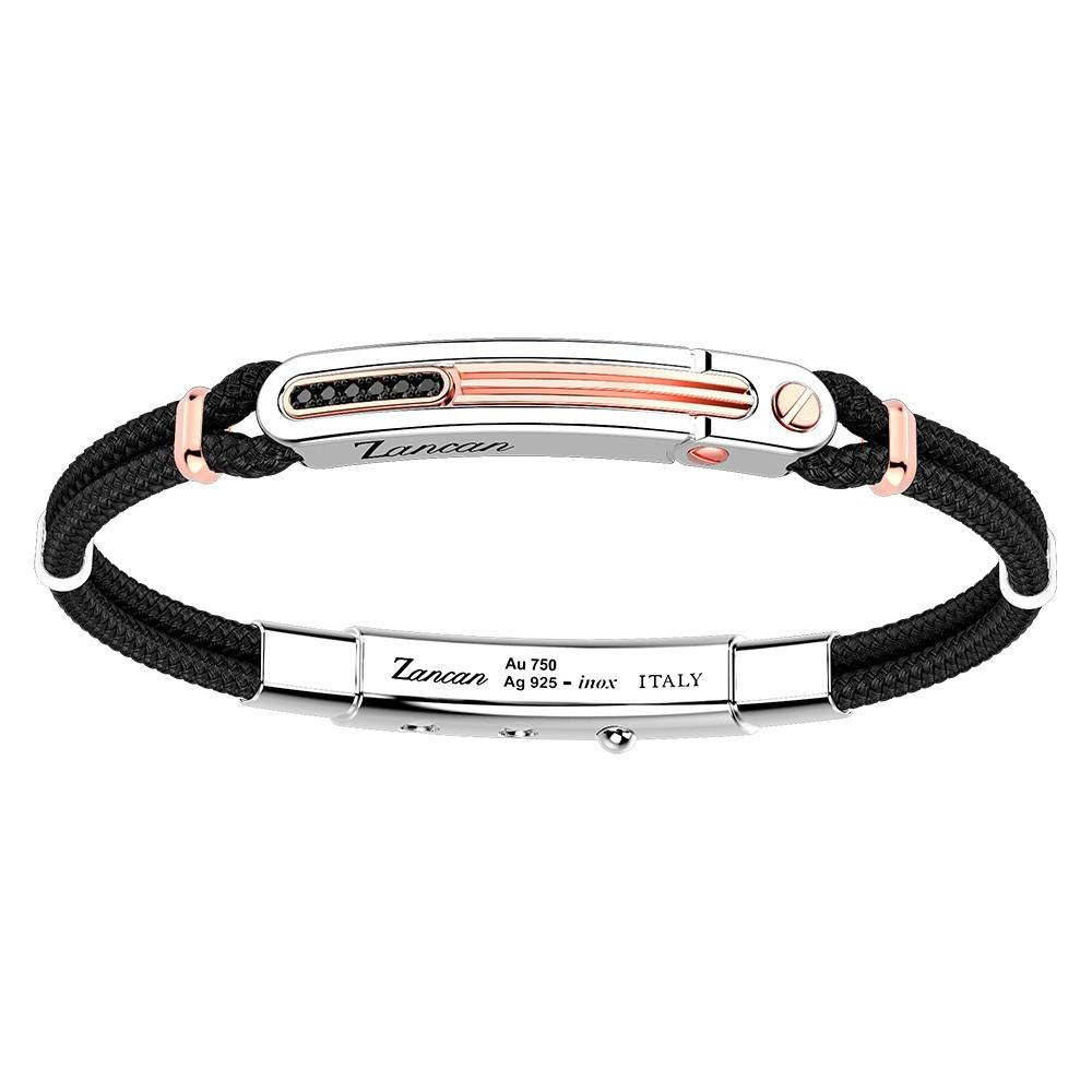 silver and gold bracelet, black spinels and black kevlar