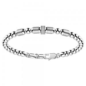 Bracciale con sfere in argento e zaffiri bianchi.