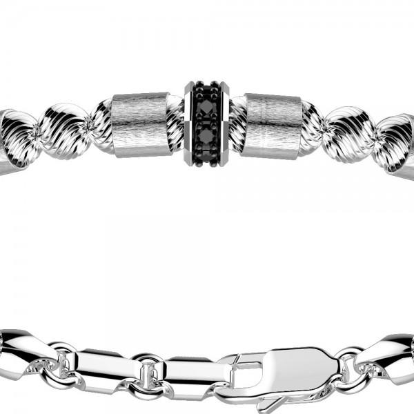 Bracciale in argento con sfere e spinelli neri.