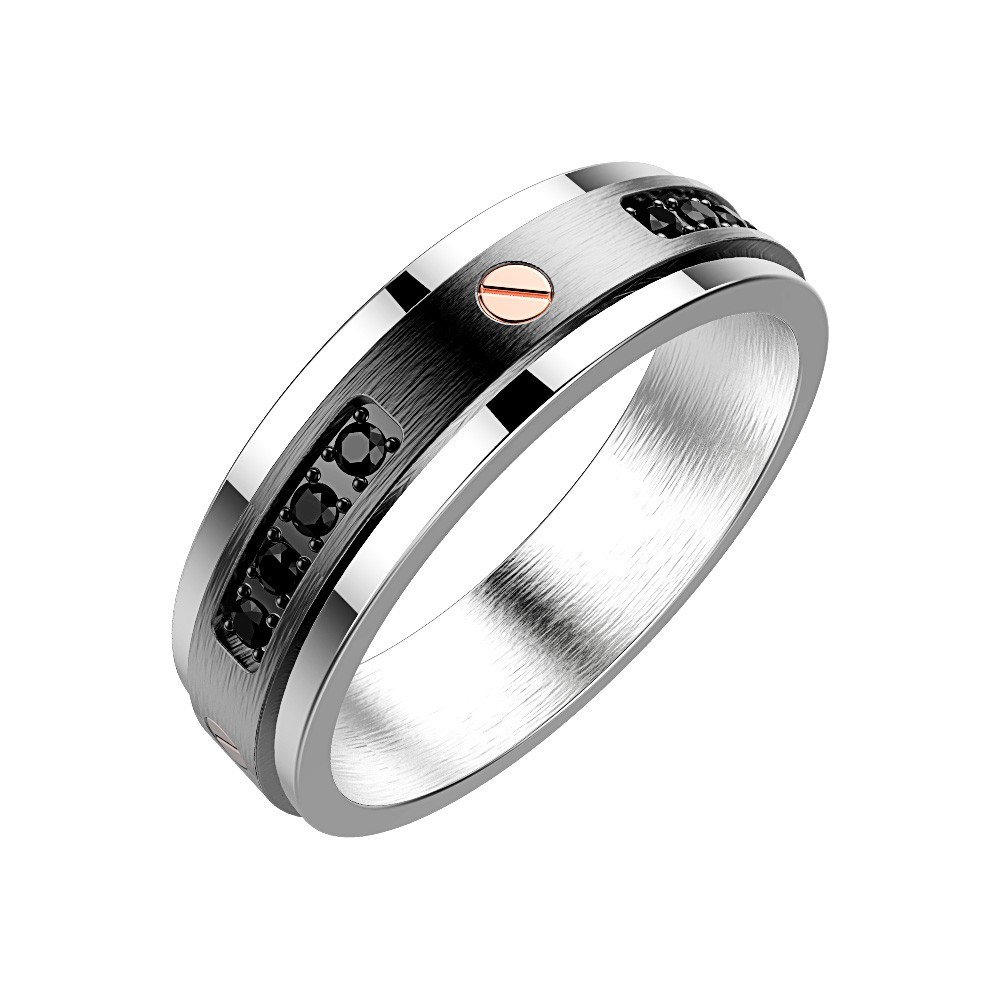Stainless steel Ring with black spinels