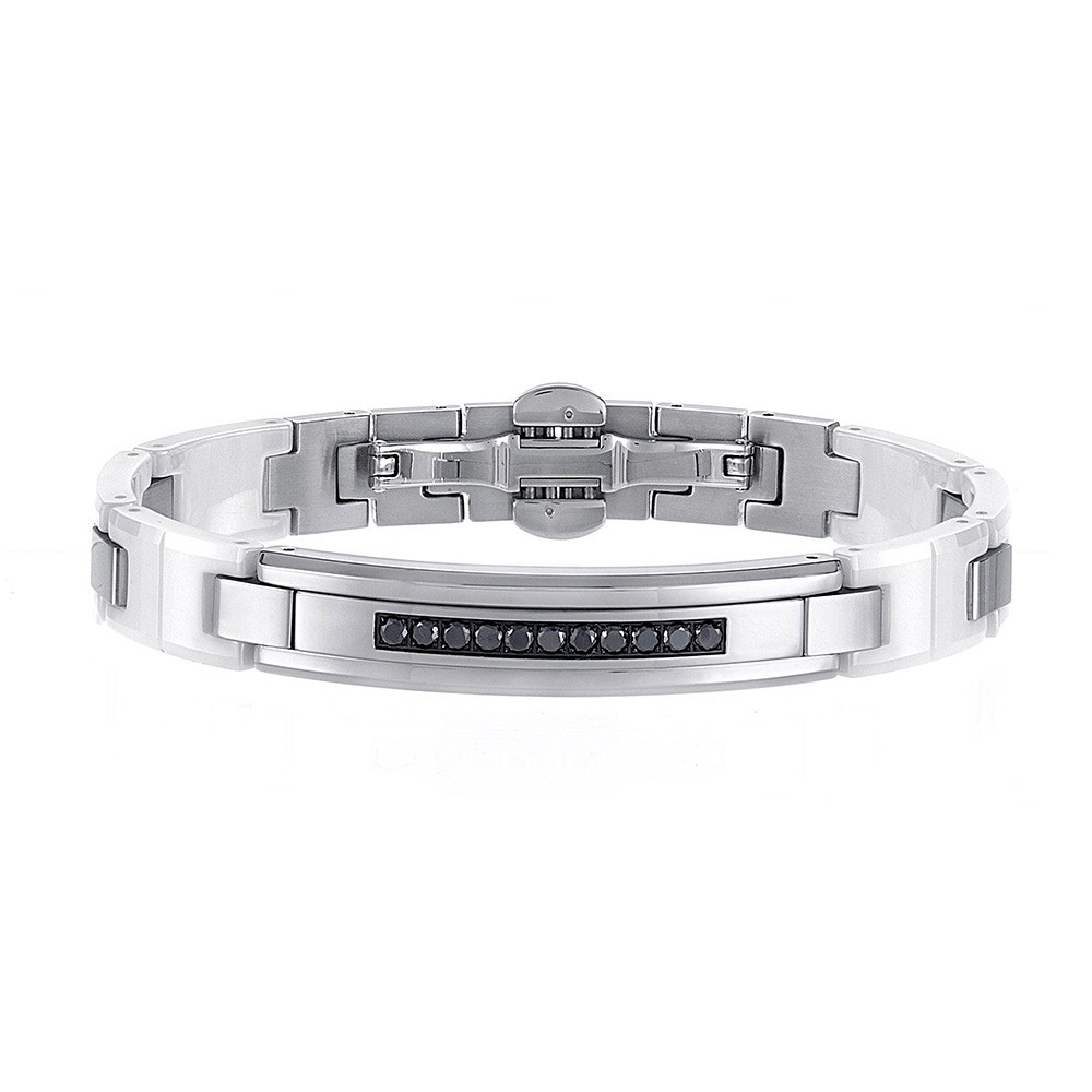 Bracelet in stainless steel with white sapphires and white ceramic