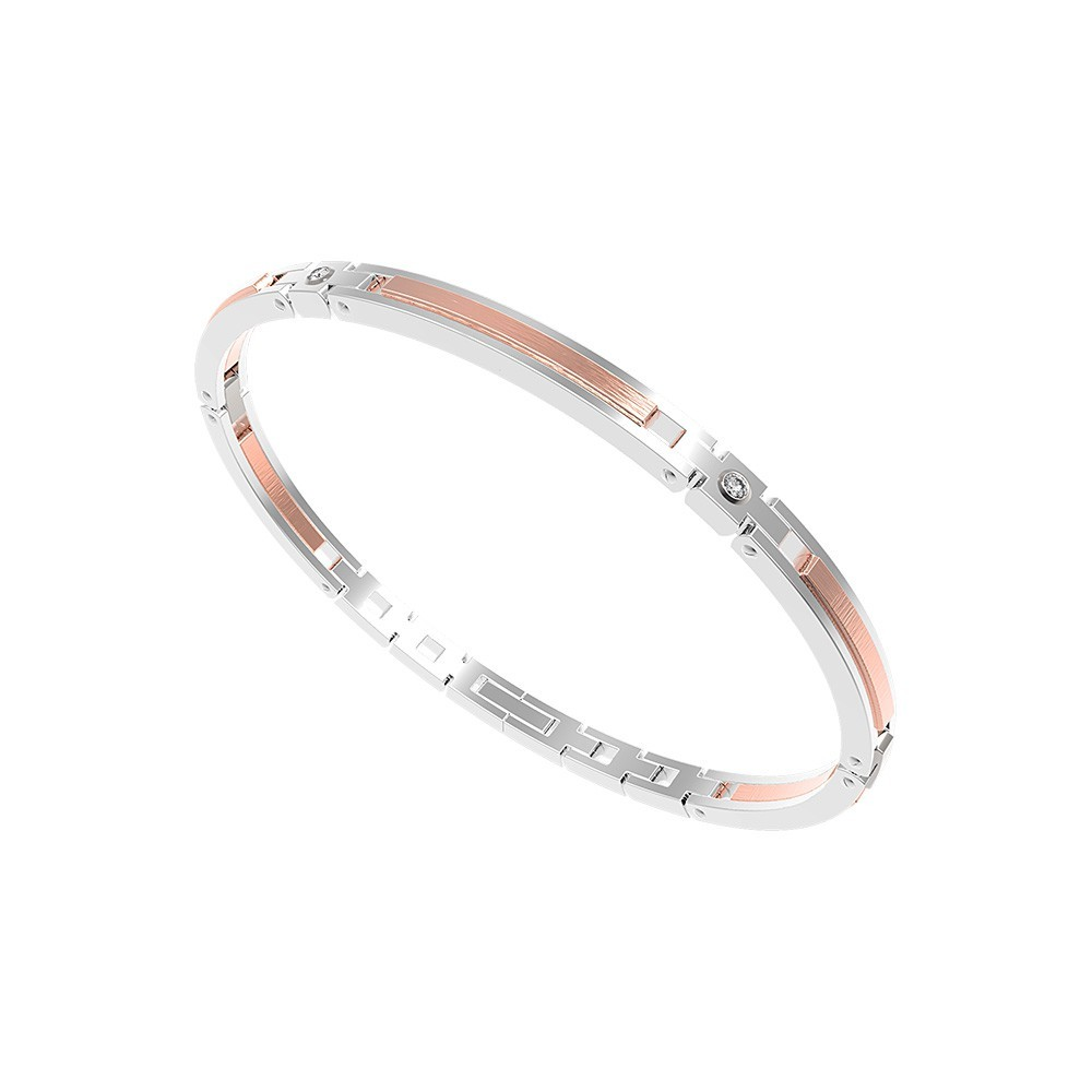 Bracelet in stainless steel with white sapphires
