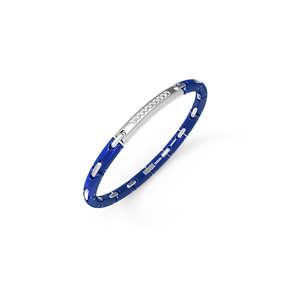 Bracelet in stainless steel with white sapphires and blue ceramic