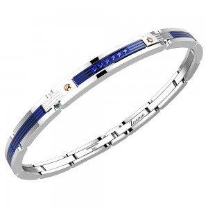 Bracelet in stainless steel with blue spinels