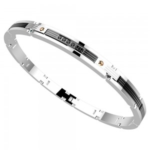 Bracelet in stainless steel with black spinels