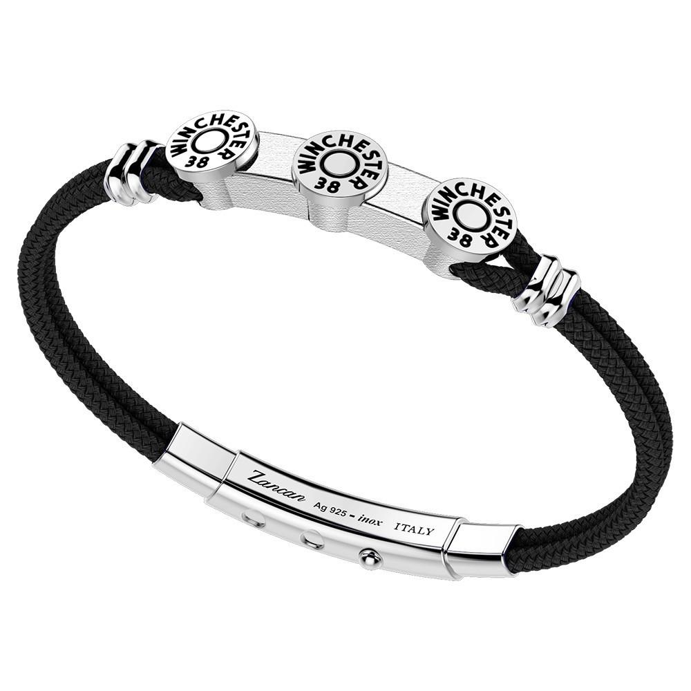 silver bracelet with black kevlar