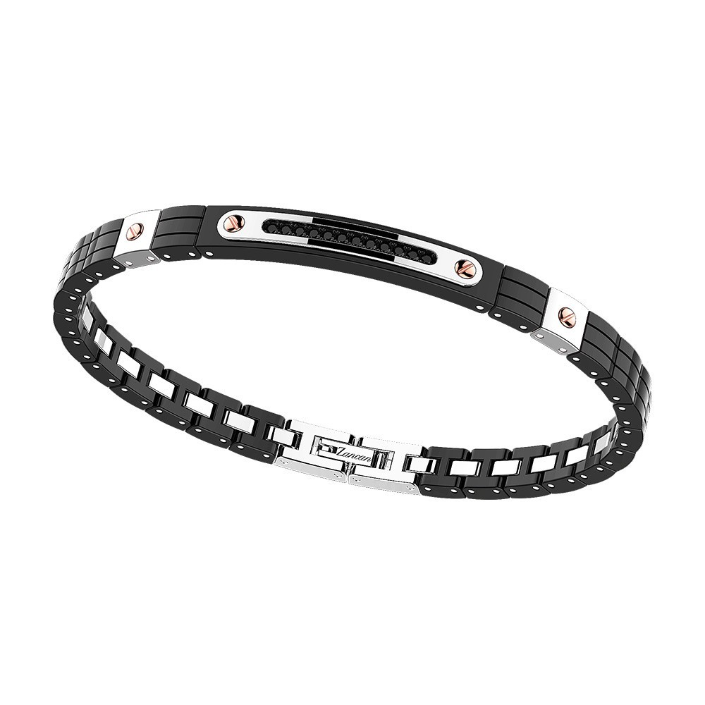 Bracelet in stainless steel with black spinel and black ceramic