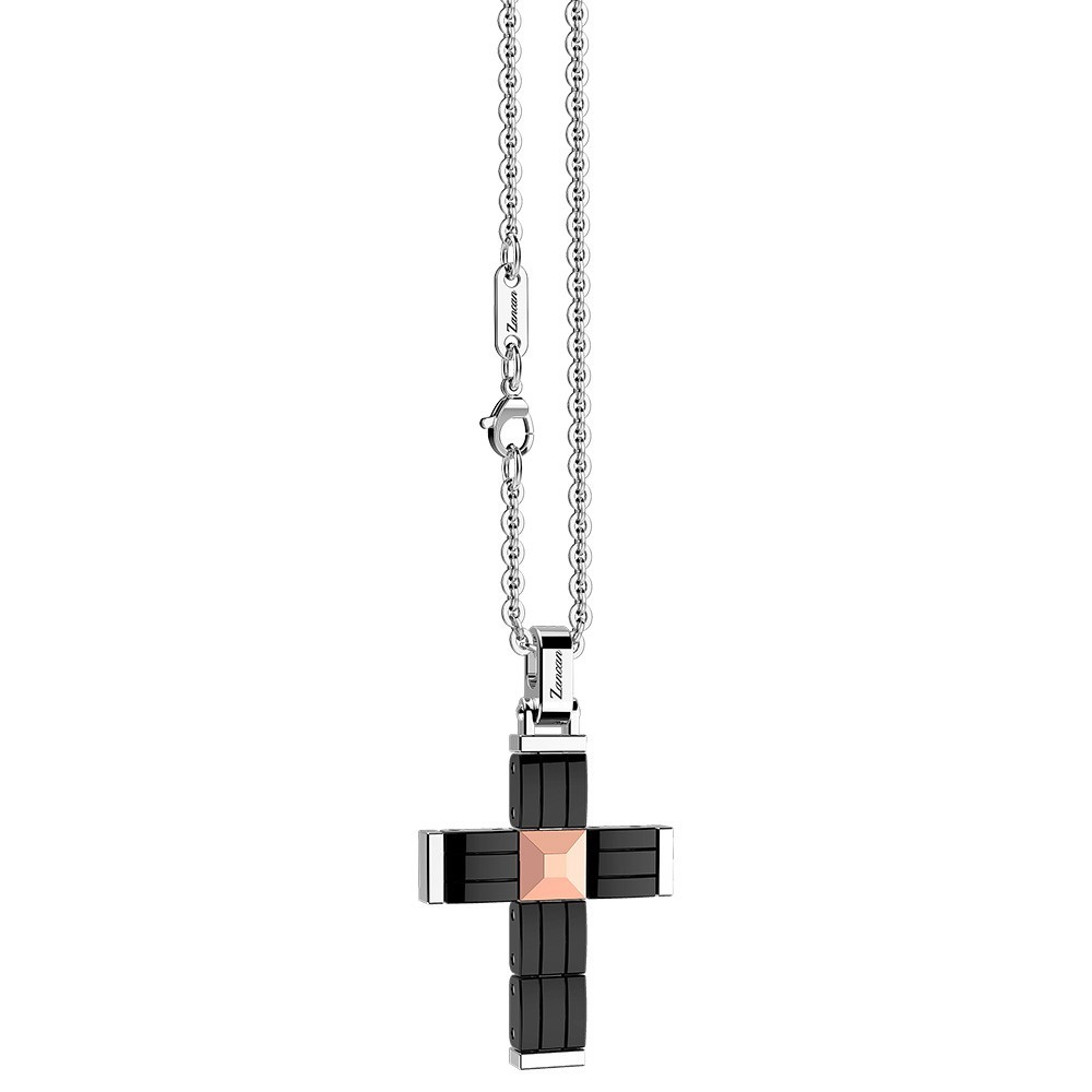 Stainless steel necklace and black ceramic