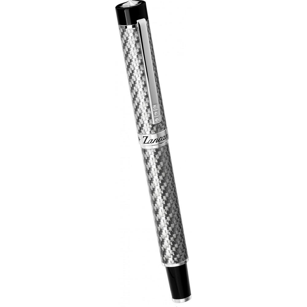 Pen in red carbon fiber and black spinels