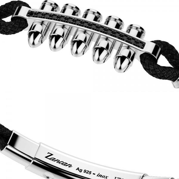 Bracciale con proiettili in argento, spinelli neri e kevlar nero.