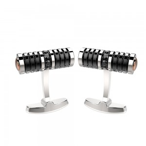 stainless steel cufflink and black spinels