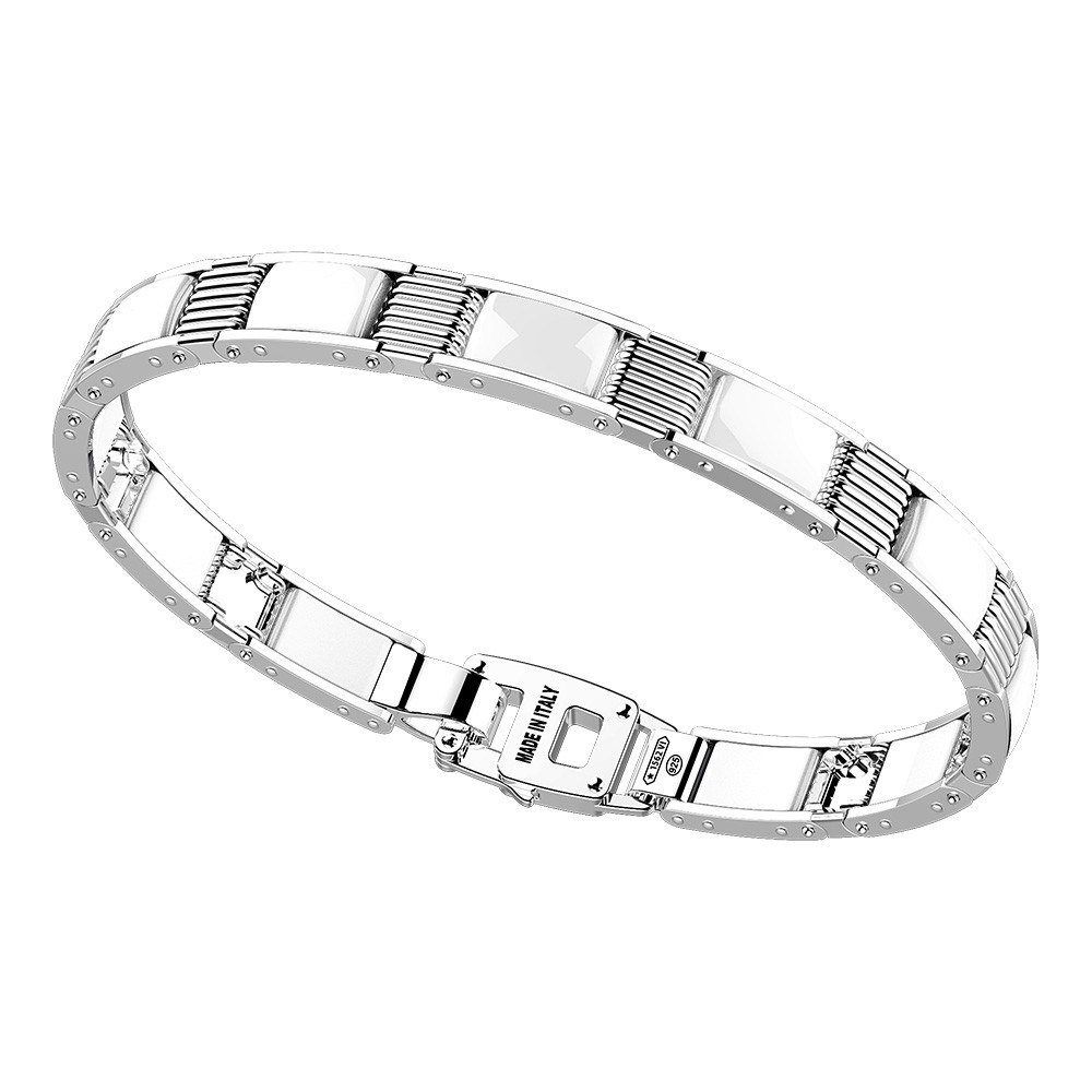 Silver and white ceramic bracelt