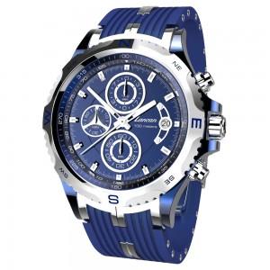 Cronografo con datario. Quadrante e cinturino blu.