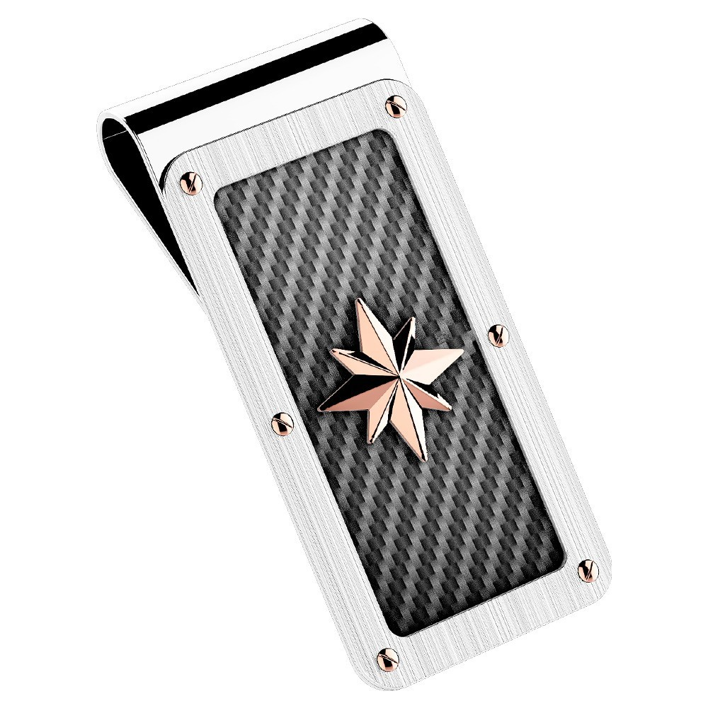 Money clips in steel with star.