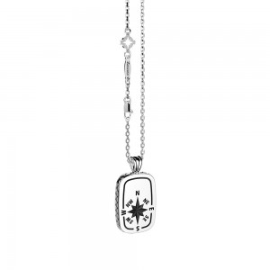 Silver necklace with wind rose pendant and Cardinal points.