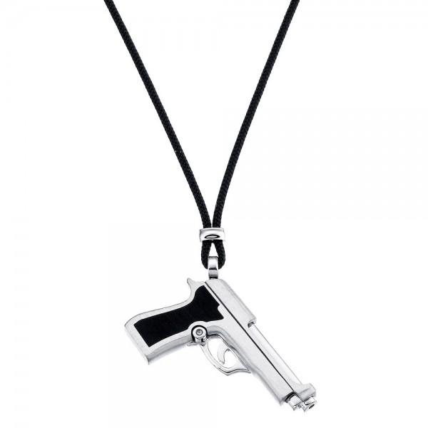 Collana con pistola in argento e kevlar nero.