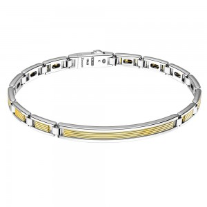 Gold and silver bracelet with plaque.