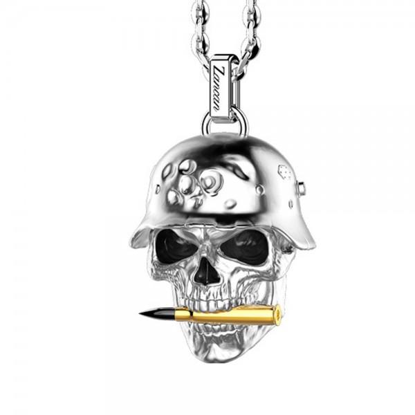 Collana in argento biker skull nero.