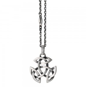 Silver necklace with celtic pendant.