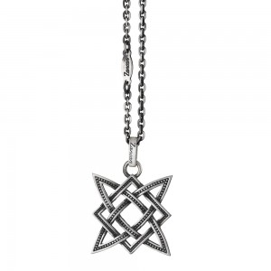 Silver necklace with celtic star on pendant.