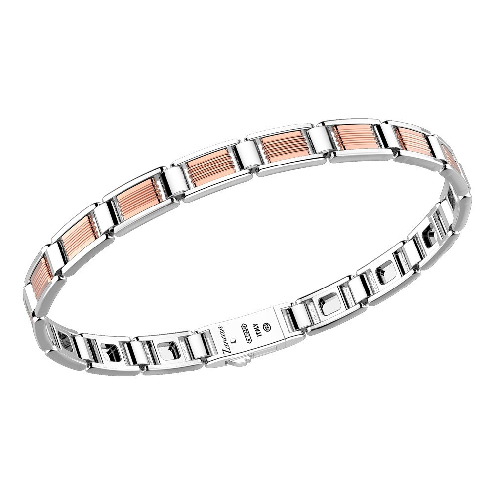 Silver bracelt with black kevlar and black namelled details