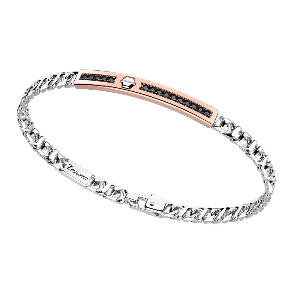 Silver bracelet with rose gold insert and stones.