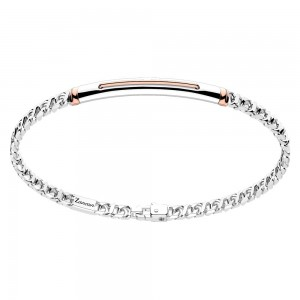 Silver bracelet with rose gold insert.