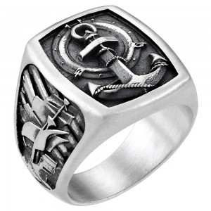 Silver ring with anchor.