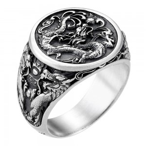 Silver ring with dragon.